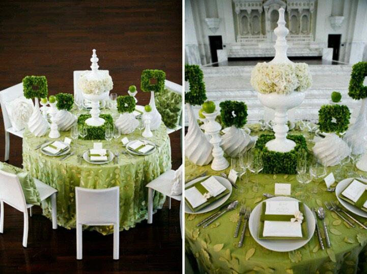 Zöld esküvői dekoráció | zöld asztaldísz
