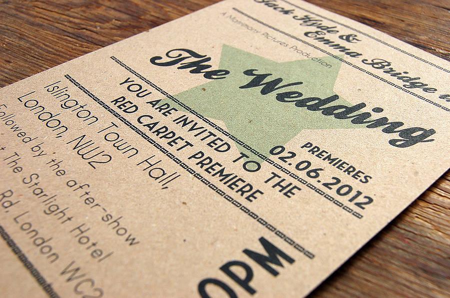 Mozi témájú esküvői meghívó