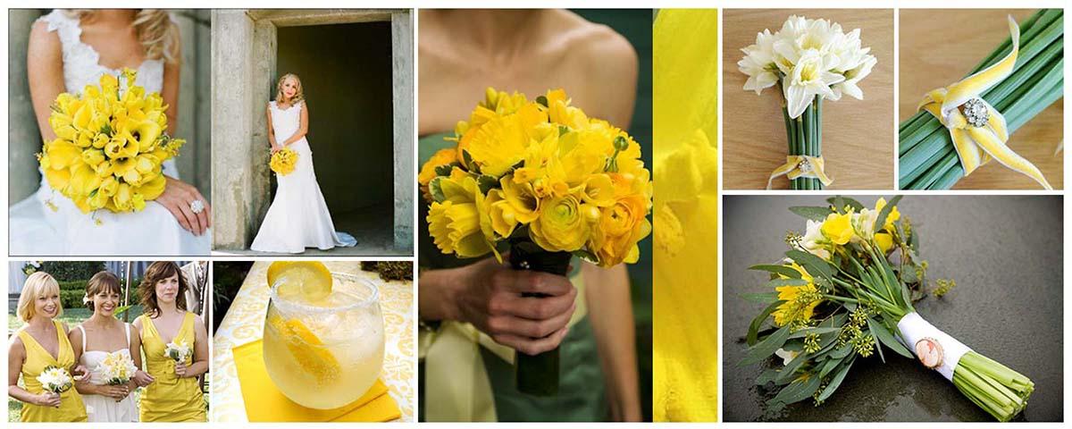 Sárga nárcisz esküvői dekoráció