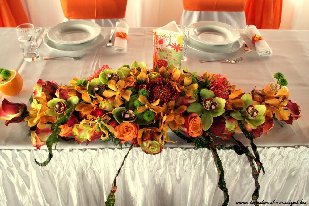 Hawaii esküvői asztaldísz