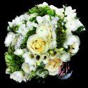 Fehér, zöld menyasszonyi csokor