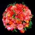 Rózsaszin narancssárga menyasszonyi csokor