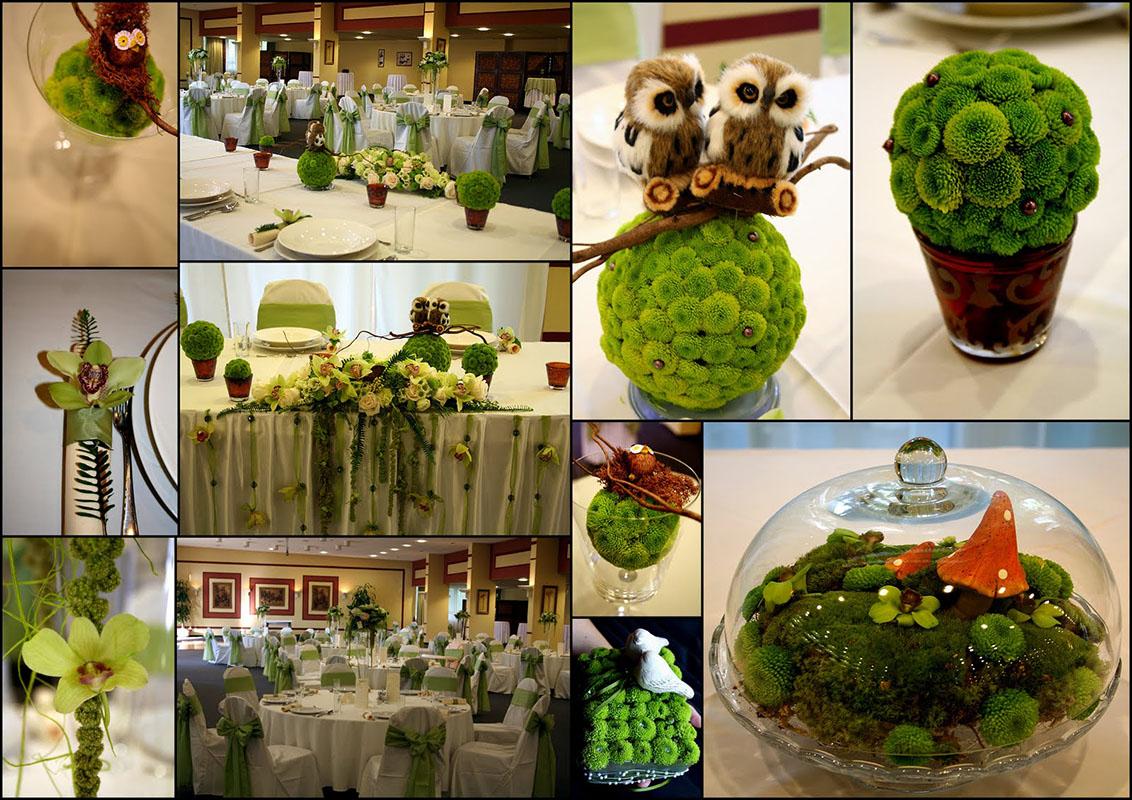 Zöld esküvői dekoráció