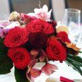 Bordó - pink esküvői dekoráció, szülő köszöntő csokor