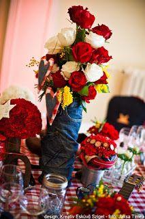 piros-fehér rózsacsokor