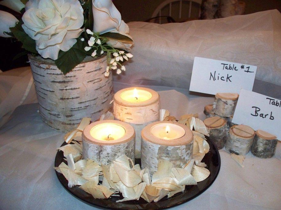 nyírfa, juta esküvői dekoráció
