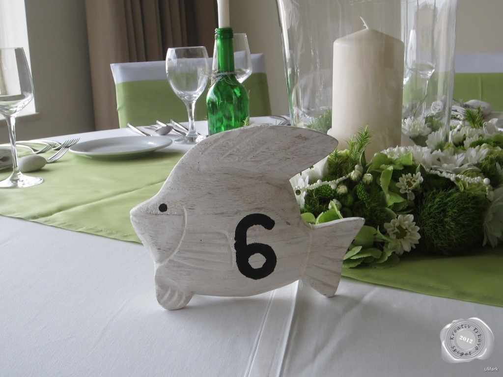 fehér esküvői dekoráció hal