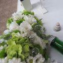 Zöld-fehér asztaldísz