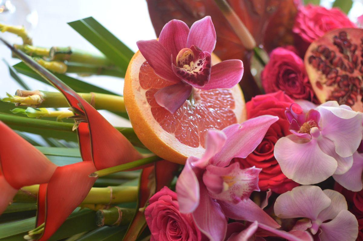 narancsos bordó pink virágcsokor