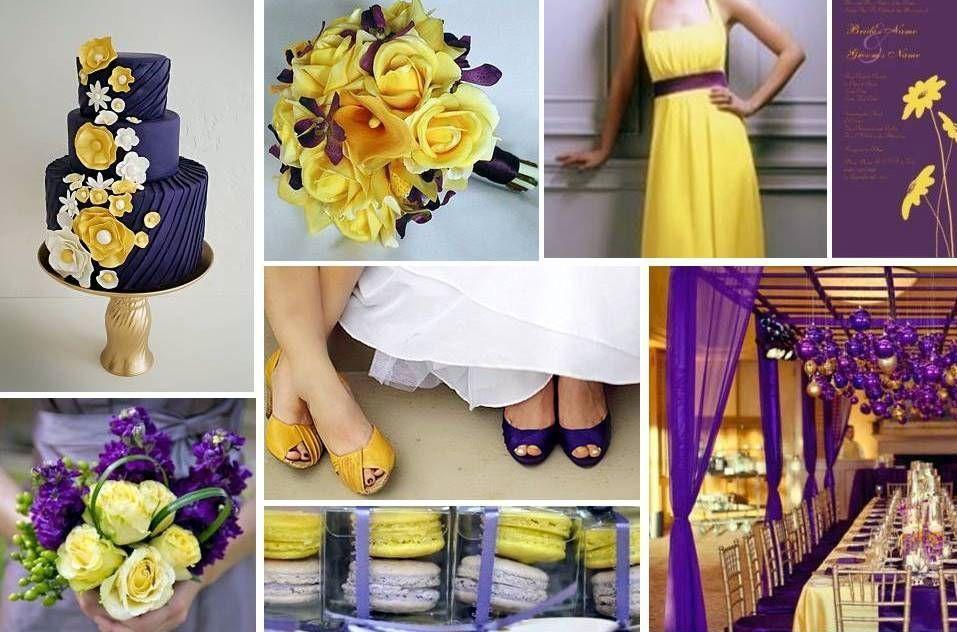 Lila-sárga esküvői dekoráció