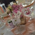 Rózsaszín vintage esküvői asztaldísz