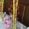Trópusi esküvői asztaldísz