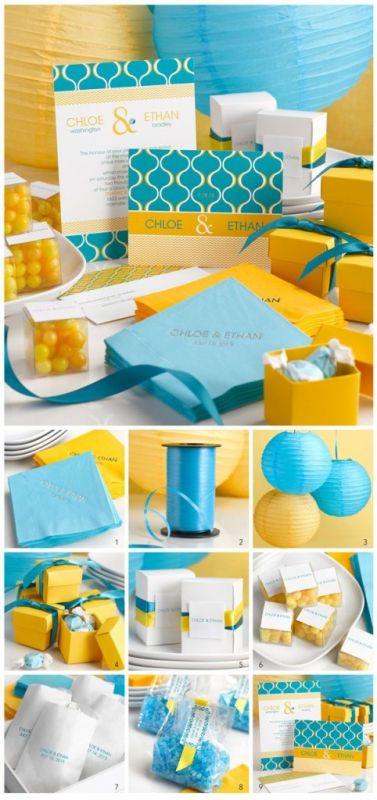 Kék-sárga dekorációs kellékek
