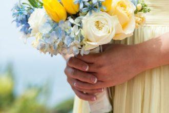 Kék-sárga menyasszonyi csokor