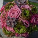 Pink-zöld vintage menyasszonyi csokor