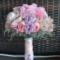 Lila-rózsaszín vintage menyasszonyi csokor