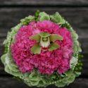 Zöld-pink menyasszonyi csokor