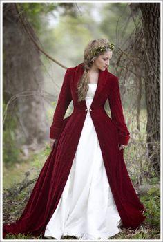 Piros menyasszonyi kabát
