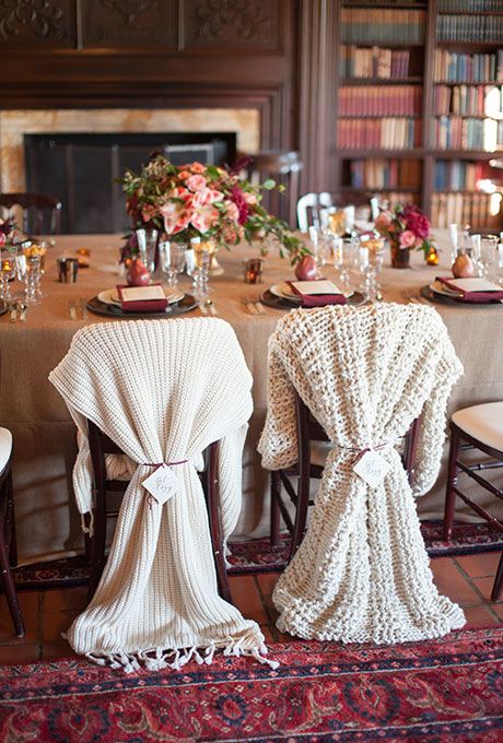 Téli esküvői dekoráció ültető