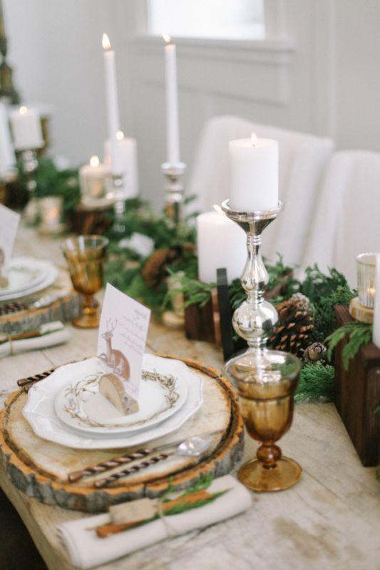 Téli esküvői asztaldísz