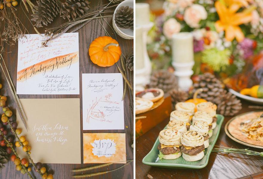 Hálaadás napi esküvői dekoráció és meghívó