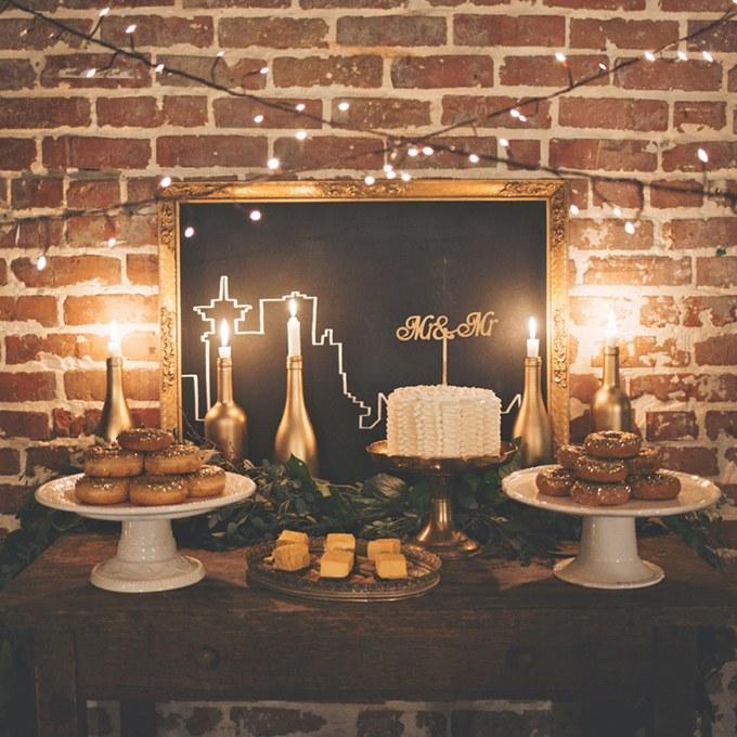 Városi stílusú desszert asztal