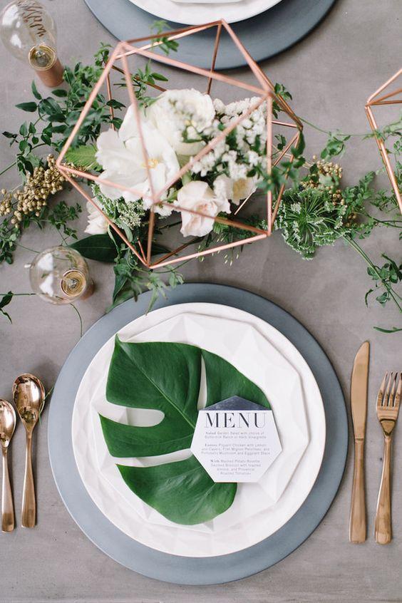 Geometrikus esküvői dekoráció